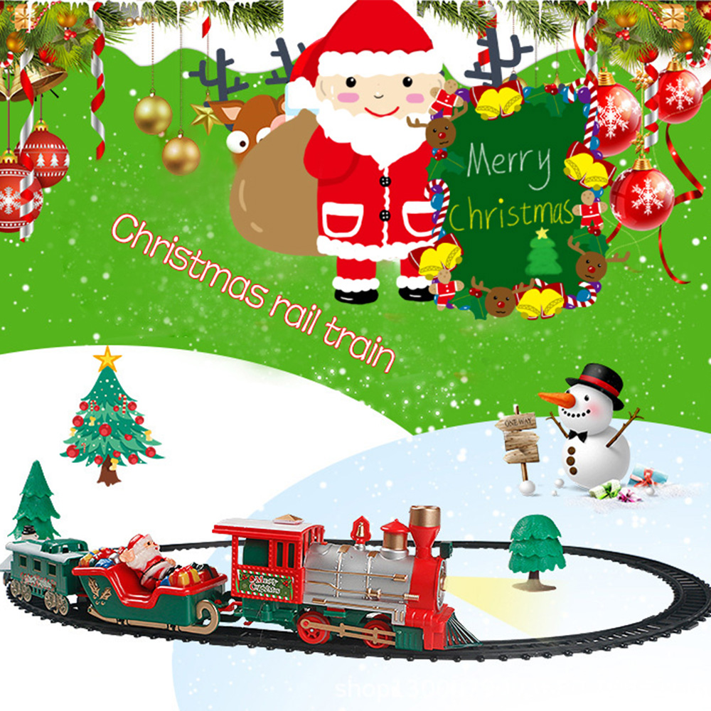 Christmas Toys Children's Small Train Track Electric Lighting Classical Music Train Parent-child Interactive Communication Toys
