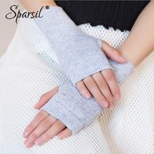 Sparsil, женские зимние вязаные шерстяные перчатки без пальцев, теплые однотонные тянущиеся перчатки, Женские Вязаные Короткие кашемировые перчатки для женщин