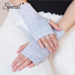 Sparsil для женщин зимние вязаные без пальцев шерстяные перчатки теплые однотонные стрейч Половина варежки леди Вязание Короткие кашемировые