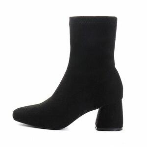 Image 5 - حذاء الأحذية الربيع والخريف الأحذية واحدة سميكة الكعوب الجوارب الأحذية مربع برئاسة مرونة الأحذية عالية الكعب مارتن الأحذية