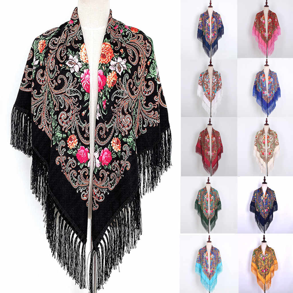 Muslim scarf autumn and winter scarves warm shawl ethnic style tassel scarf travel Baotou windbreaker female Neckerchief Stoles