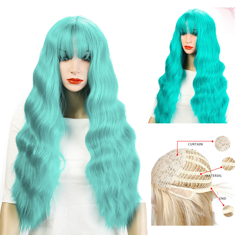 Fluffy Synthetic Cosplay Wig Black Blue Long Wavy Wig 10 Colors Costume Party Heat Resistant For Women Allaosify Blue Gray Blond
