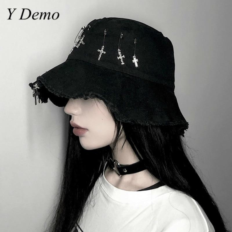 Summer Casual Harajuku Cross Movable Pins Black Bucket Hat Women