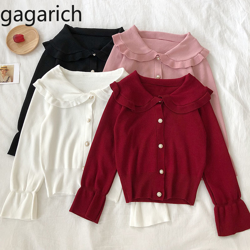 Gagarich Women Sweater Autumn Winter 2019 New Korean Chic Sweet Doll Neck Pearl Single Row Horn Sleeve Knitted Cardigan