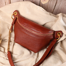 Women's handbags 2020 new leather retro trend first layer cowhide solid color wild shoulder diagonal handbag new serpentine hit color wild leather handbags european and american fashion trapezoidal buckle shoulder diagonal bag leather ha