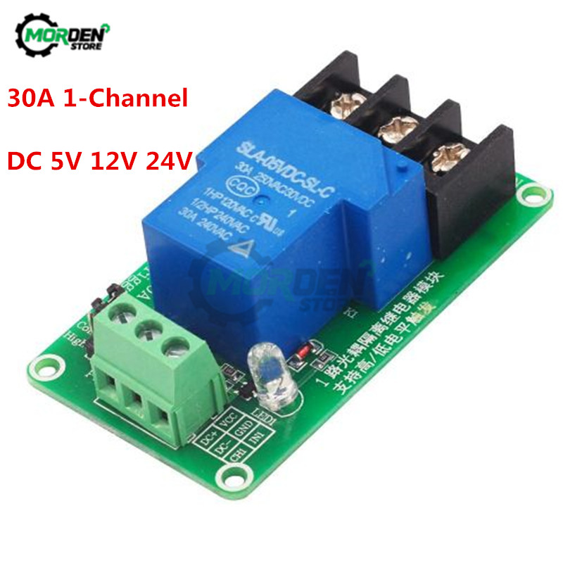 DC 5V 12V 24V 1 Channel 30A Relay Module Board With Optocoupler Isolation High And Low Level Trigger Relay Module