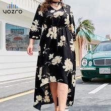 VOZRO Lead Printing Seven Part Sleeve Skirt Irregular Will Code Sexy Winter Maxi Dress Women Chalaza Longuette Vestido Dresses