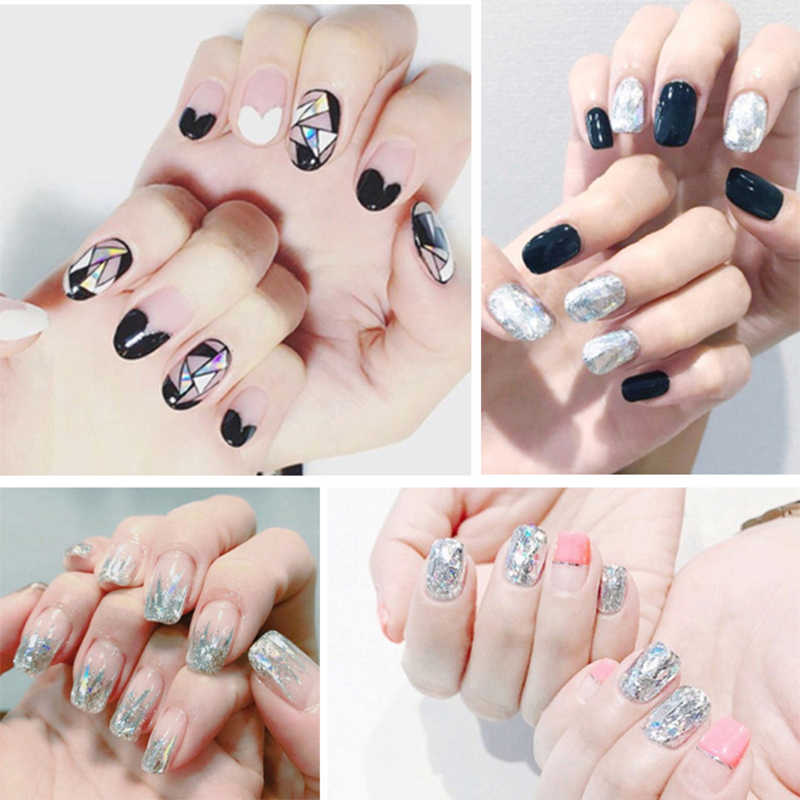 Tips/Lembar Penutup Penuh Wraps Nail Polish Stiker Strip Polos Kuku Seni Dekorasi Desain Hati Glitter Bubuk Manikur tips