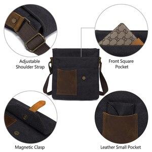 Image 5 - VASCHY hafif düzensiz erkek küçük askılı çanta Vintage inek derisi deri su geçirmez tuval Crossbody omuz çantaları