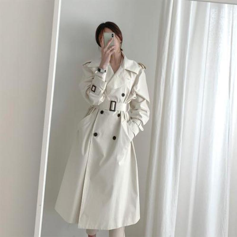 Women Double-breasted Khaki   Trench   Coat 2019 New Spring Autumn Turn Down Collar Korean Style Long Coats Ladies Windbreaker