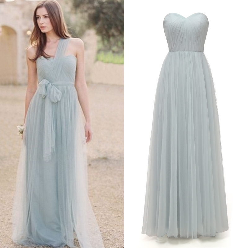 Multi Types DIY Light Grey Blue And Light Grey Tulle Bridesmaid Dress Lace Up Factory Price Good Quality
