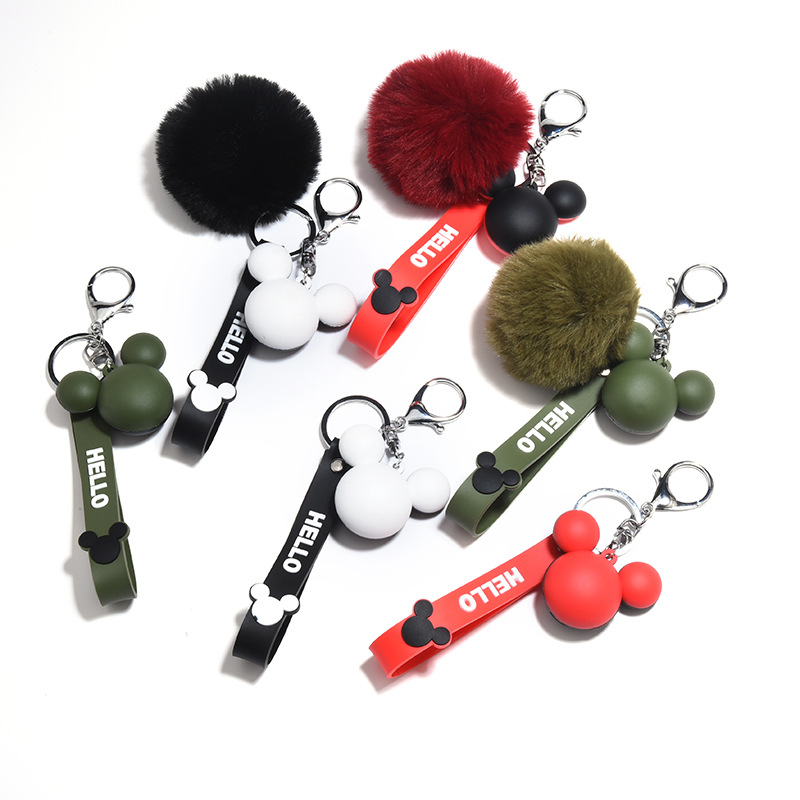 Cartoon Cute Mickey Fluffy Rabbit Fur Ball Keychain For Women Pompom Rabbit Fur Key Ring Key chain on Bag Car Jewelry 2020 image