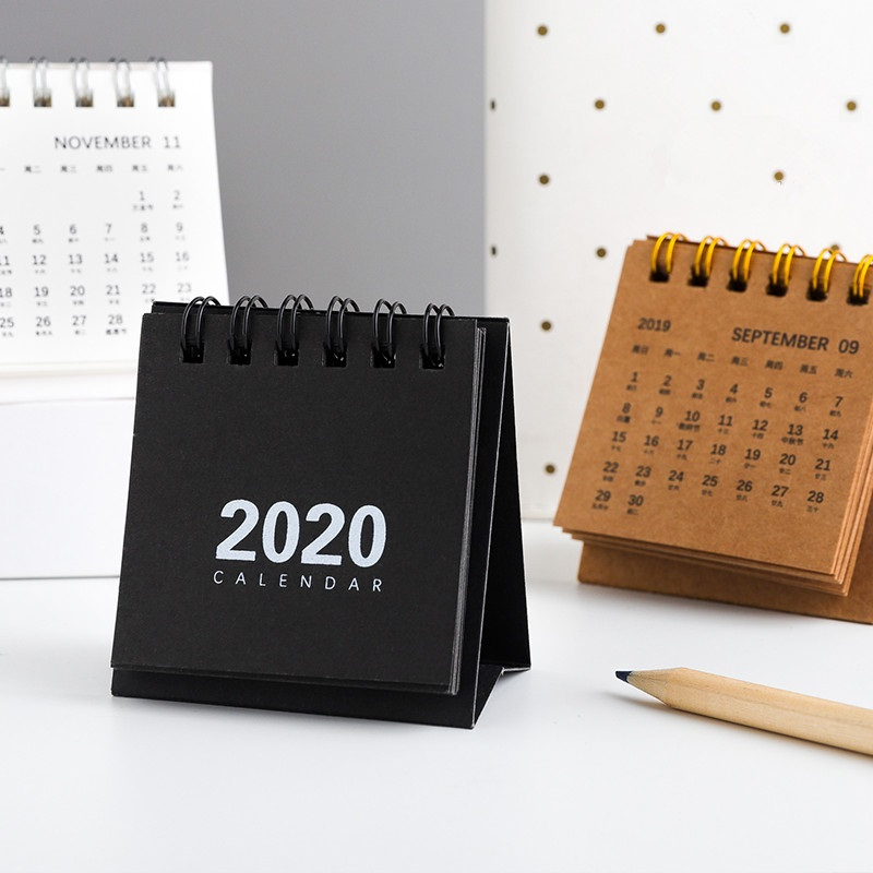 2020 Simple Mini Kraft Paper Calendar DIY Portable Desktop Coil Calendars Daily Schedule Planner 2020.01-2020.12