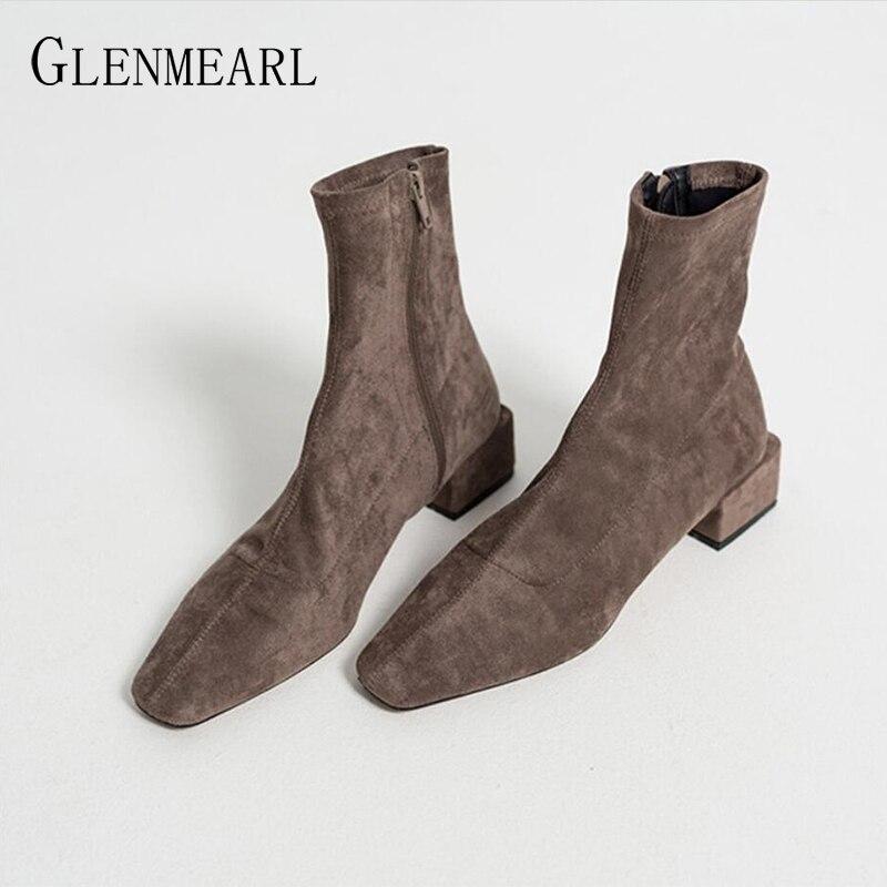 Ботильоны для женщин; зимняя обувь; Брендовые женские ботинки на квадратном каблуке; простая повседневная обувь на молнии; коллекция 2019 год...