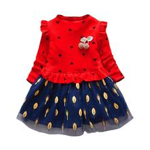 Hot Kids Dresses For Girls Cute Baby Long Sleeve Floral Tulle Party Princess Dress Outfits Toddler Girl Clothes vestido infantil недорого