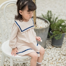 New Autumn Casual Baby Girl Dress 1-7T Solid Color Long Sleeve Princess Toddler Girl Dress Kids' Clothing #m