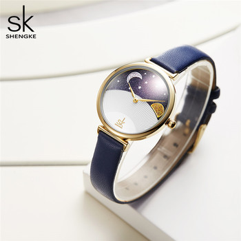 цена Shengke Women Fashion Blue Quartz Watch Lady Leather Watchband High Quality Casual Waterproof Wristwatch Gift for Wife With Box онлайн в 2017 году