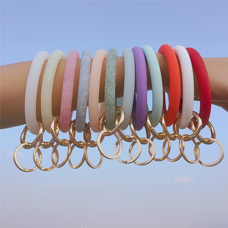 SEDmart Fashion O Silicone Bangles Keychain for Women Trendy Sequin Exaggerated Circle Key <font><b>Ring</b></font> Wrist Strap <font><b>Bracelet</b></font> Jewelry image