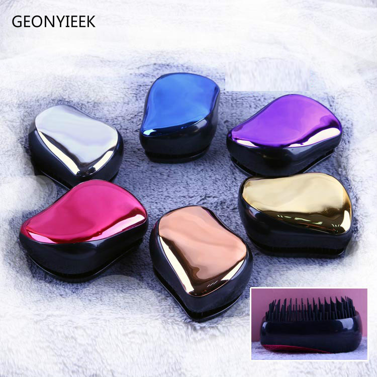 1pc Magic Anti-static Hair Brush Handle Tangle Detangling Comb Shower Electroplate Massage Comb Salon Hair Styling Tool