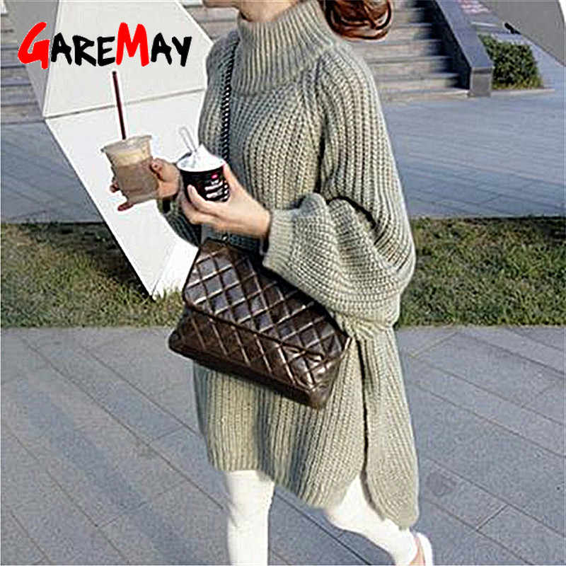 GareMay autumn winter knitted sweater dress women warm turtleneck sexy loose pregnant maxi plus size female ladies long sweaters