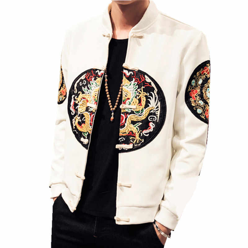 Black Chinese Style Casual Baseball Mens Jackets And Coats Bomber Jacket Men's Spring Autumn Embroidery Clothing FYY287
