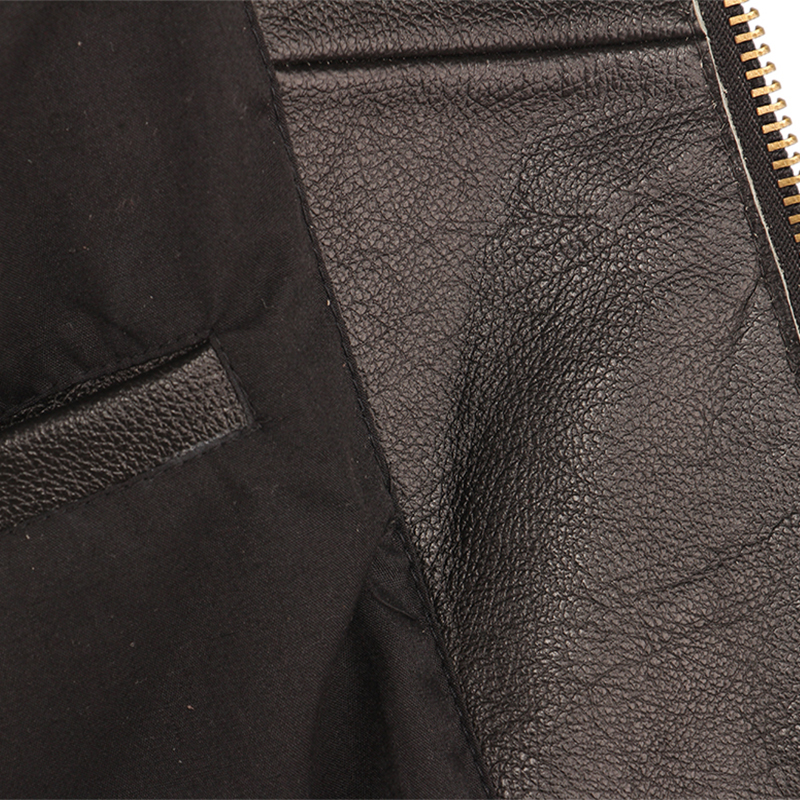 Image 5 - Black Embroidery Skull Motorcycle Leather Jackets 100% Natural Cowhide Moto Jacket Biker Leather Coat Winter Warm Clothing M219Genuine Leather Coats   -