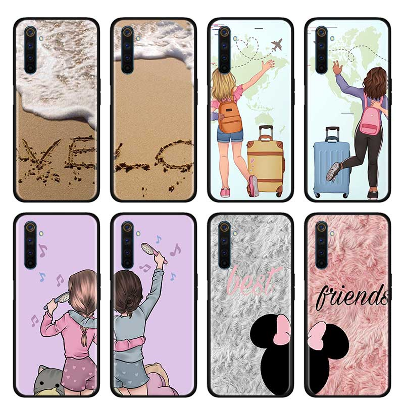 Thin Case for Realme X50 Pro 5G X2 Pro XT C3 5i 5 Pro 6i 6 Pro Narzo 10 10A Phone Cover Shell Best Friends <font><b>BFF</b></font> Two Girls image