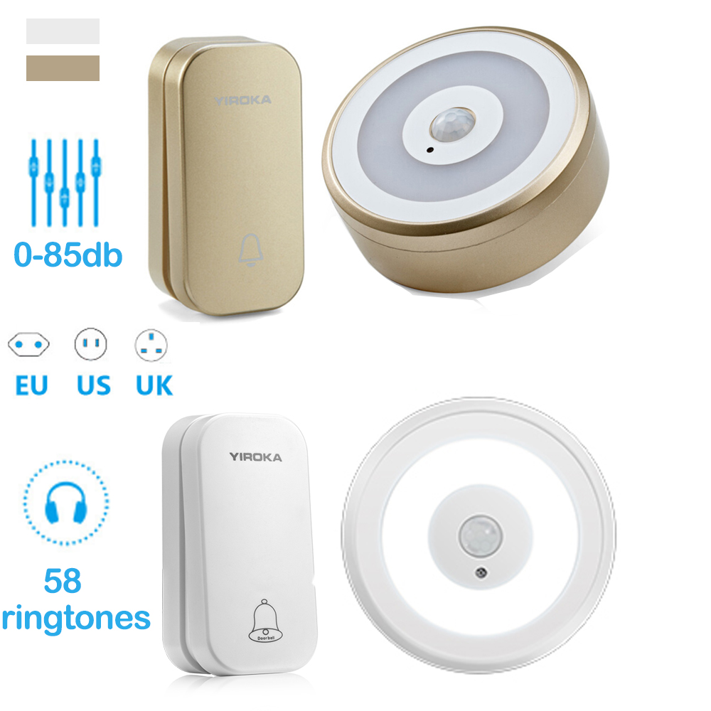 Yiroka Self Powered Doorbell NO Battery Waterproof Wireless Door Bell Ring 58 Chimes 200M With PIR Motion Sensor LED Night Light