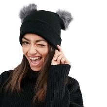 Kobiety kapelusz zimowy ciepły szydełkowy dziergana czapka kapelusz podwójny Faux futrzany pompon czapka z pomponem czapka zimowa śmieszne czapki z pomponem chapeau donna tanie tanio COTTON Akrylowe Dla dorosłych Unisex Na co dzień Winter Hat Women Cap Stałe Skullies czapki Winter Hats For Women beanie