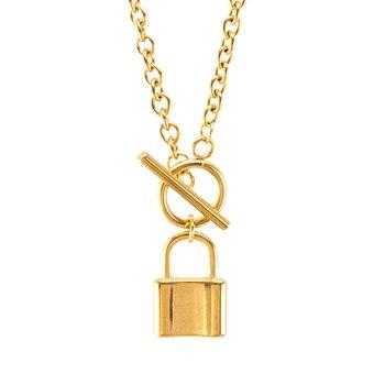 Risul de moda de las mujeres de bloqueo de collar de candado de acero inoxidable COLLAR COLGANTE cable Rolo Cadena de buena calidad regalos de la amistad