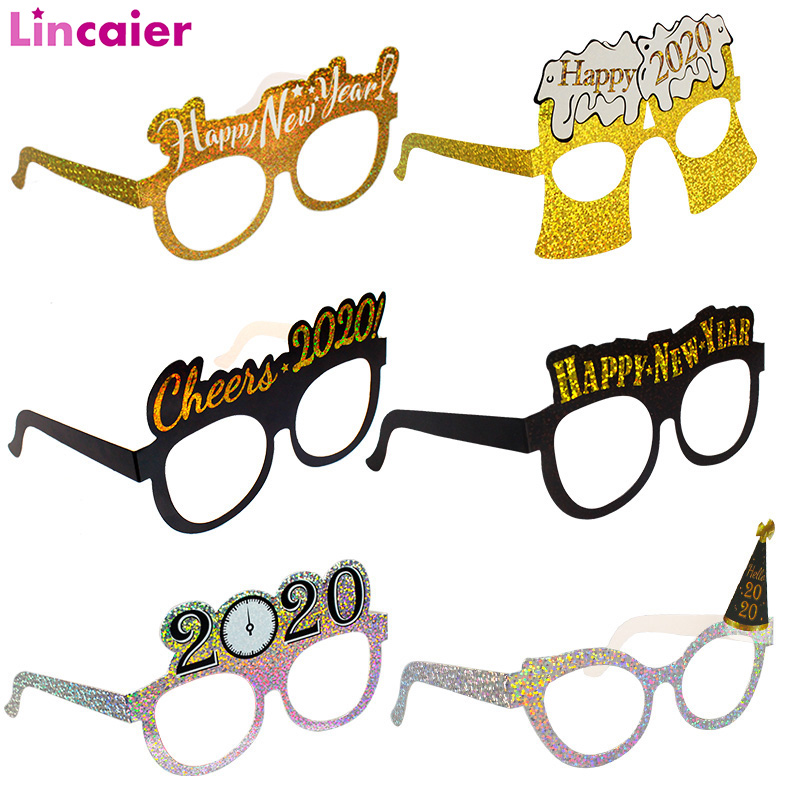6pcs 2020 Happy New Year Paper Glasses Photo Booth Props New Year Party Funny Photobooth Christmas Gifts Decorations Eve