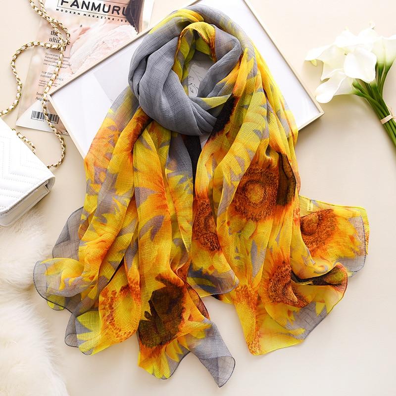 Silk Scarf Shawls Crocodile Women Pashmina Beach-Towel Wrinkles Print Large-Size And