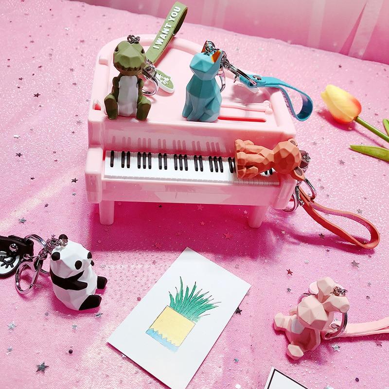 2019 New Fashion Cute Dinosaur Keychain Key Ring Fashion Cartoon PU Key Chain Creative Car Bag Phone Key Ring (2)