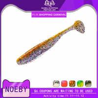 Noeby t-tail isca de silicone suave luminosa 5 cm/7.5 cm/9 cm plástico wobblers piscou isca de pesca para baixo de pesca leurre peche
