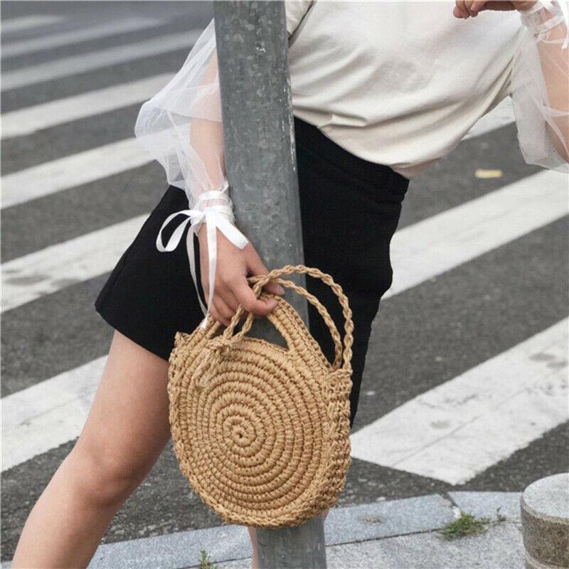 Summer Fresh Women Round Crossbody Shoulder Bag Rattan Wicker Straw Woven Beach Circular Handbags Lady Basket Tote Straw Bags