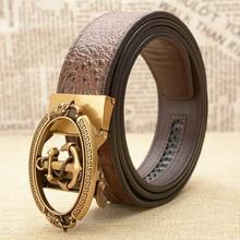 Cinturón de cuero con hebilla automática para hombre, cinturón de cuero de cocodrilo de alta calidad, pretina de lujo de moda salvaje vintage, pretina de marinero