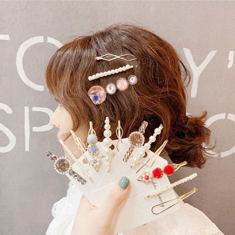 1Set Metal Hairgrip Hair Accessories Set Geometric Irregular Gold Color Pearl Hair Clip Fashion   Girls Accessories Headwear
