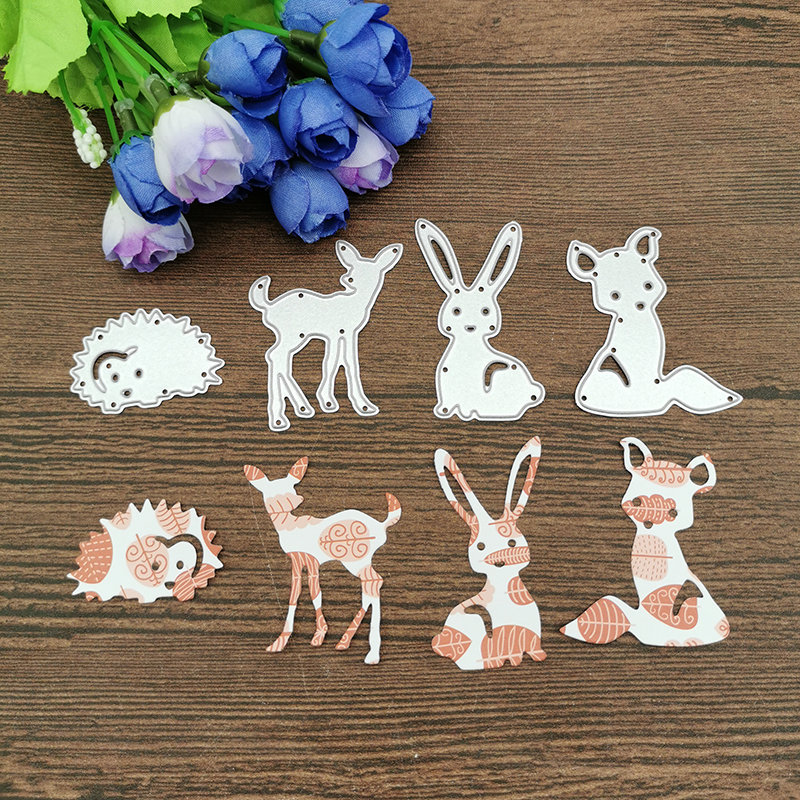 4Pcs Rabbit Fox Deer Hedgeh Metal Cutting Dies Stencils For DIY Scrapbooking Decorative Embossing Handcraft Die Cutting Template
