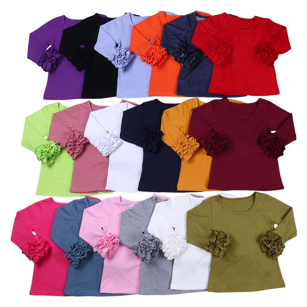 100% cotton Sassy fall and winter little girls top long sleeve icing ruffle girls shirts
