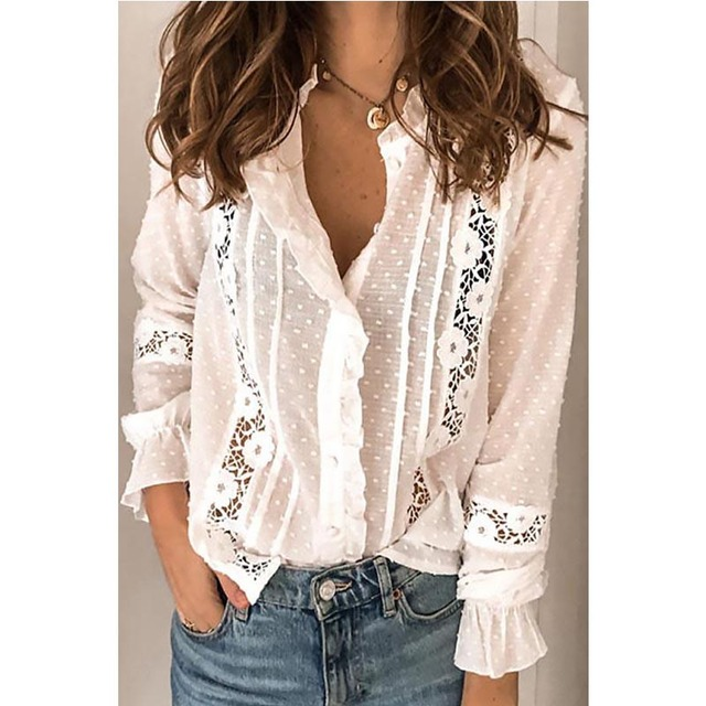 Spring Autumn Women Blouse Fashion Casual Ruffles Shirt V Neck Flare Long Sleeve Hollow Out Tops Office Lady Loose Blouses