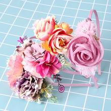 Цветочная повязка на голову для маленьких девочек богемная модная