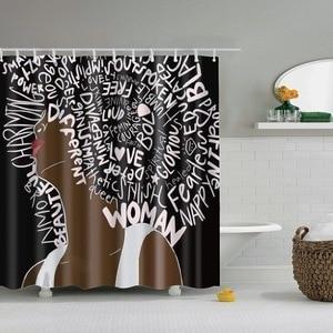 Image 5 - Dafield cortina de ducha africana para niña, cortina de ducha Afro de pelo azul, cortina de baño africana