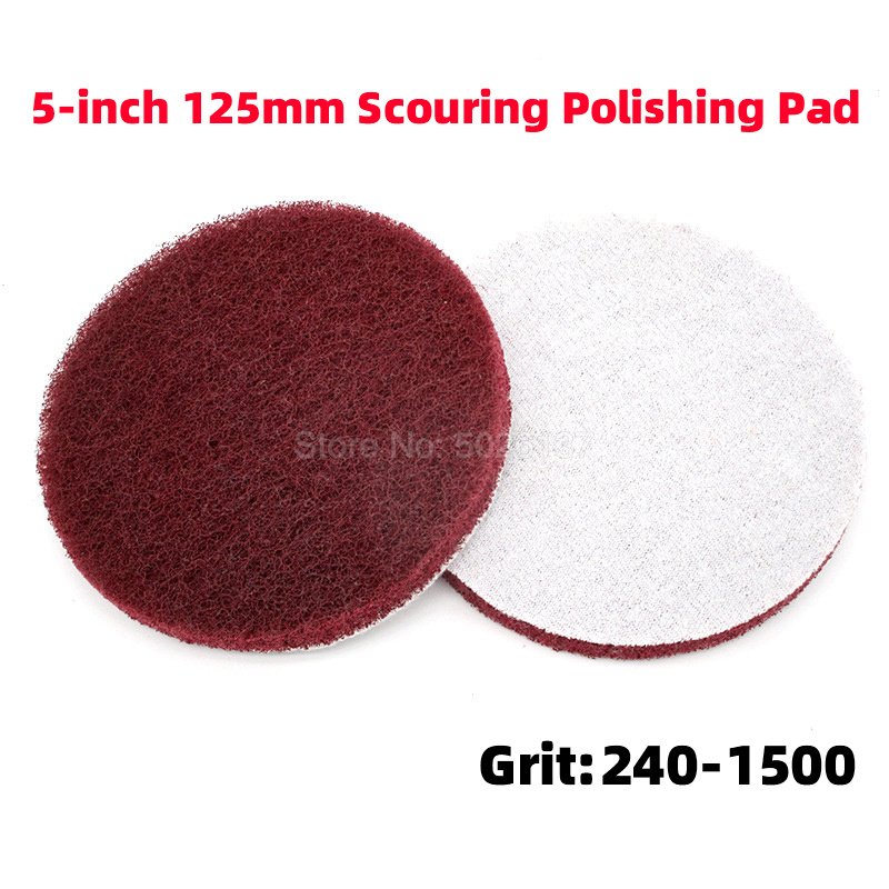 1Pcs 5-Inch Brushed Flocking Self-adhesive Scouring Pad Disc Stainless Steel Rust Sanding Polish Electric Shaft Fiber Wheel