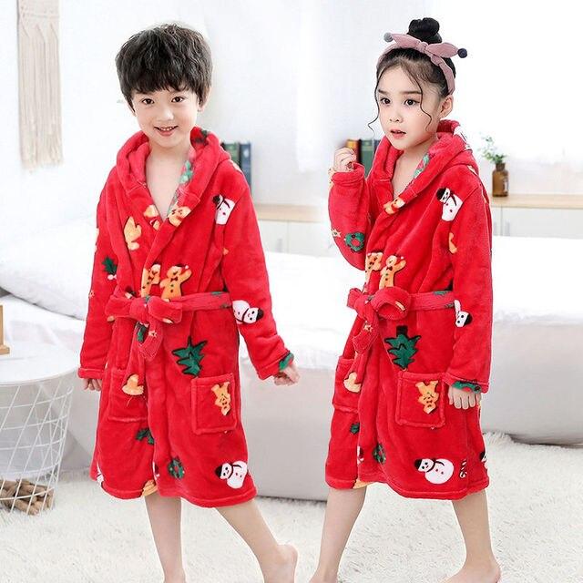 Yying Gar/çon Fille Peignoir en Flanelle Enfants Pyjama /à Capuche Hiver Manche Longue Chaud V/êtements de Nuit Impression de Bande Dessin/ée Robe de Chambre