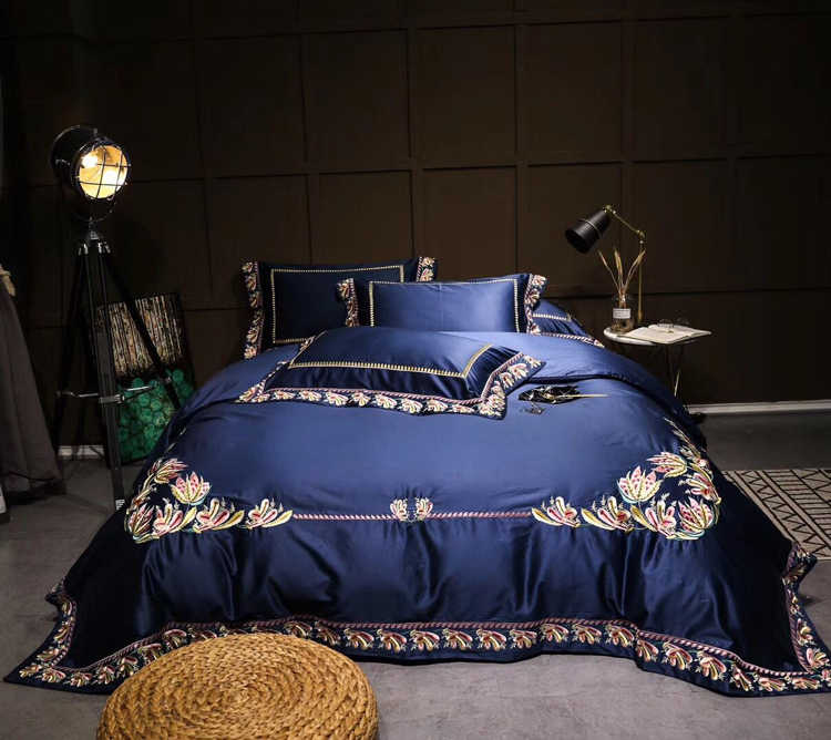 120S Egyptian Cotton purple Embroidery Luxury Bedding Set 4pcs King Queen Bed Sheet Cover set Duvet cover Pillowcase