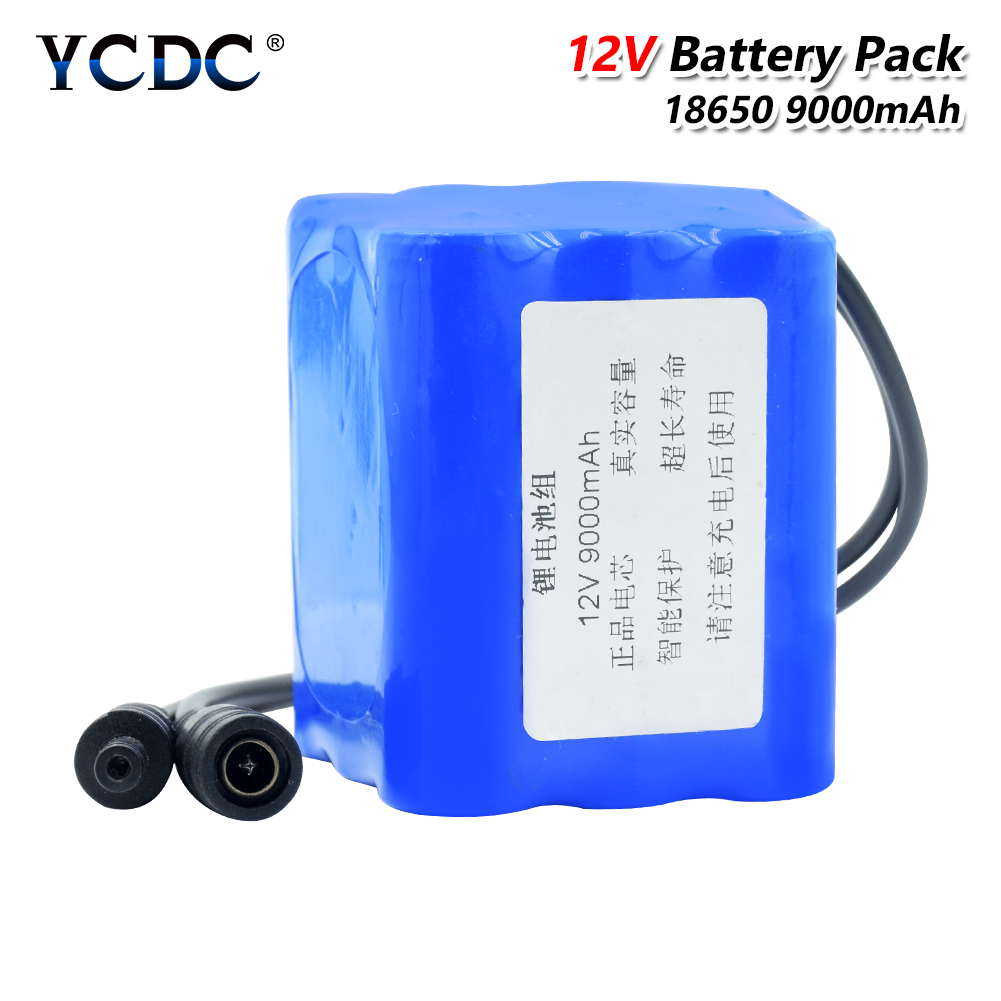 High Capacity 9000mah <font><b>12</b></font> <font><b>V</b></font> Lithium 18650 <font><b>Battery</b></font> Pack (9pcs 18650 Lithium Ion Bateria) Replacement Batterie Discharge Protection image