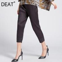 DEAT – pantalon plissé à sept longueurs pour femme, coupe crayon, coupe ajustée, élastique, idéal pour le bureau, nouvelle collection été 2021, XQ155