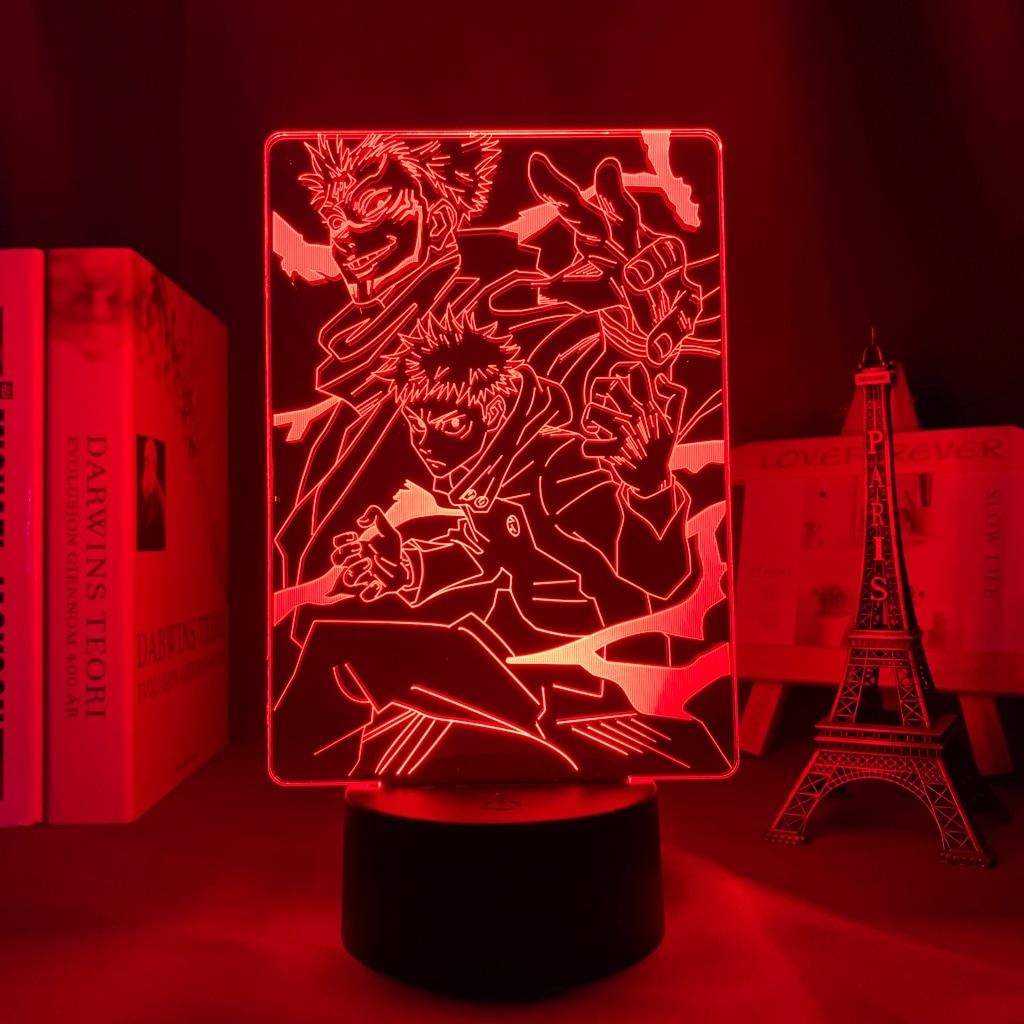 Hec8c3f0b370b48178453eabacd712d176 Luminária Anime jujutsu kaisen ryomen sukuna led night light lâmpada para decoração do quarto presente de aniversário yuji itadori luz jujutsu kaisen gadget