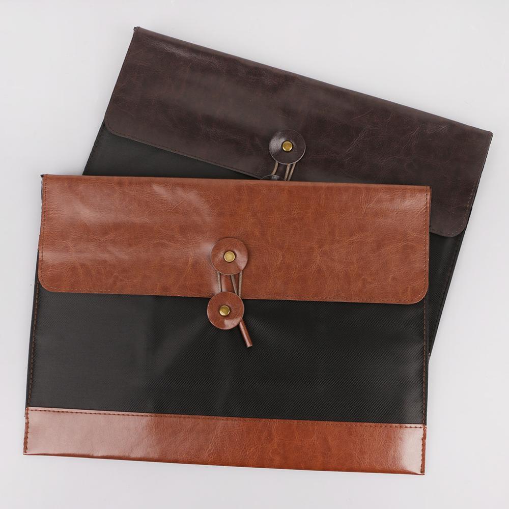 Retro Men Women Leather File Folder Document Organizer Storage Bag Envelope Meeting Travel Conference Holder M17F