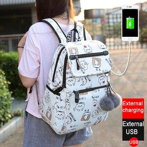 Image 2 - Mode femme sac à dos motif fleur femmes sac à dos étanche sacs à bandoulière adolescente sac décole Mochilas femme étudiant